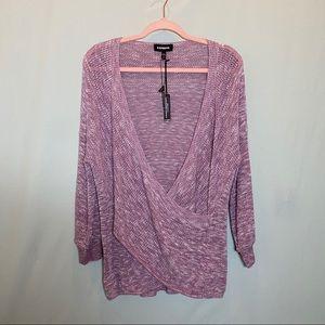 NWT Express Ballon Sleeve Wrap Front Sweater